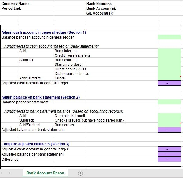Bank Reconciliation Template 08