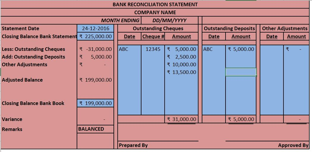 Bank Reconciliation Template 14