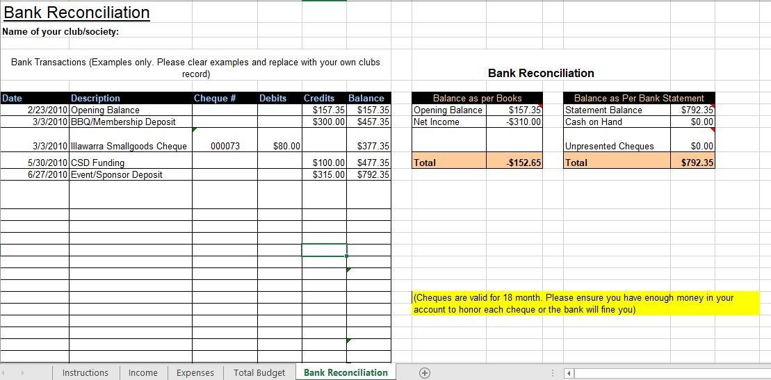 Bank Reconciliation Template 17