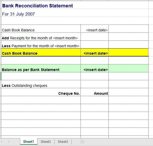 Bank Reconciliation Template 20