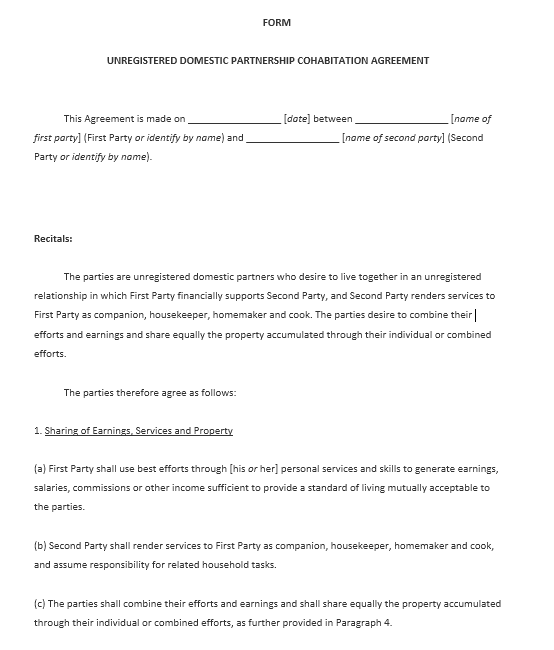 cohabitation agreement template 02