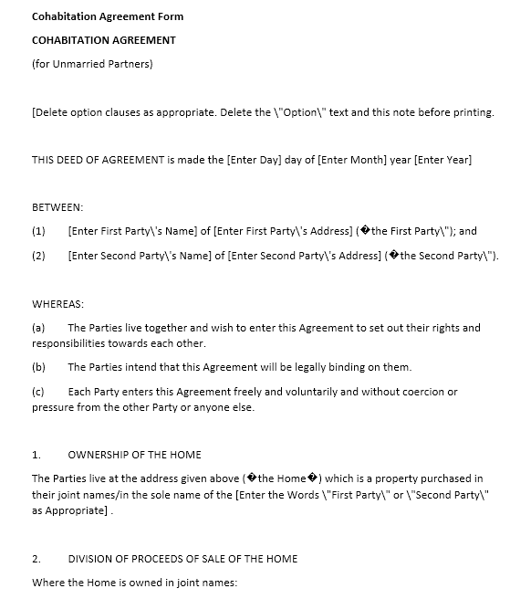 cohabitation agreement template 10