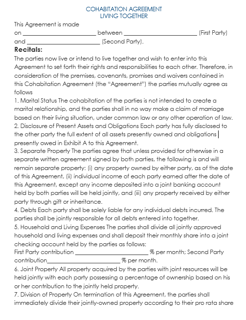cohabitation agreement template 13