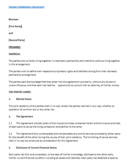 cohabitation agreement template 14