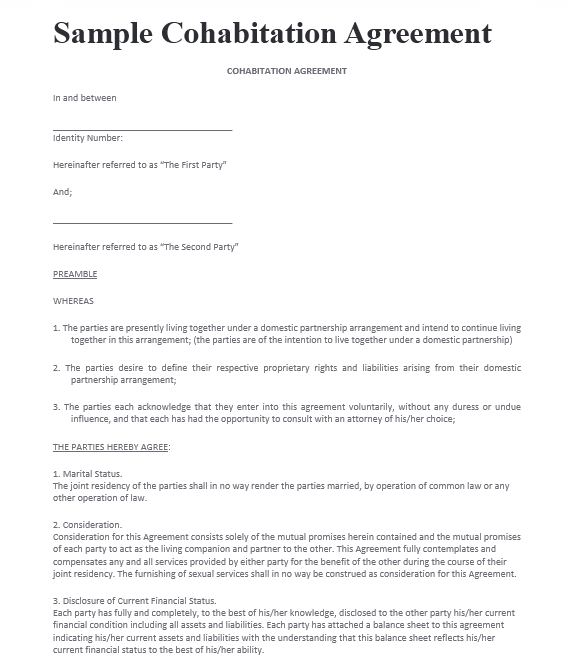 cohabitation agreement template 20