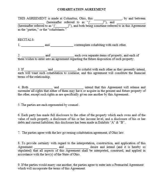 cohabitation agreement template 25