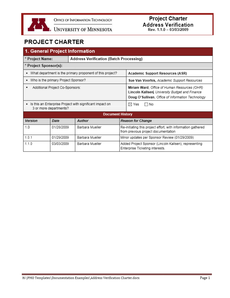 Project Charter Template 20