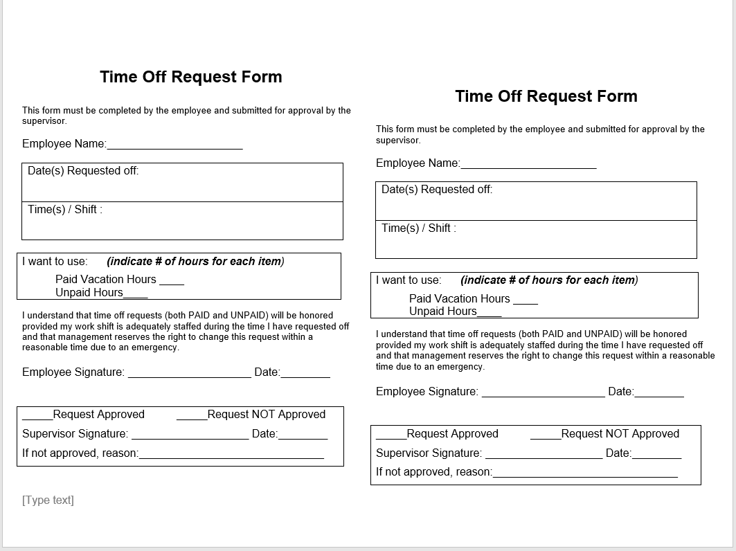 time off request form template 07