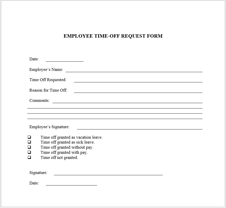 time off request form template 11