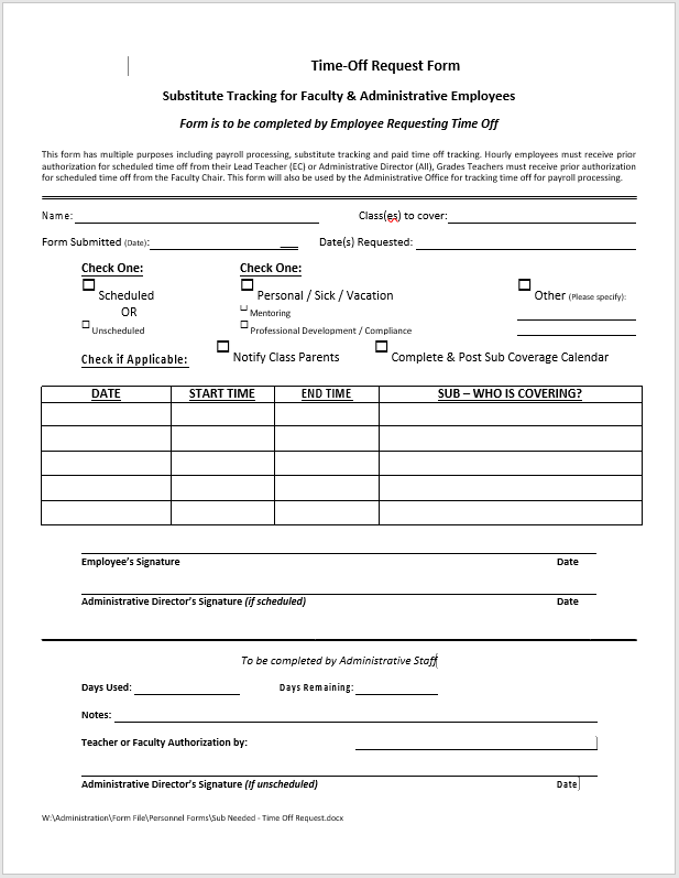 time off request form template 21