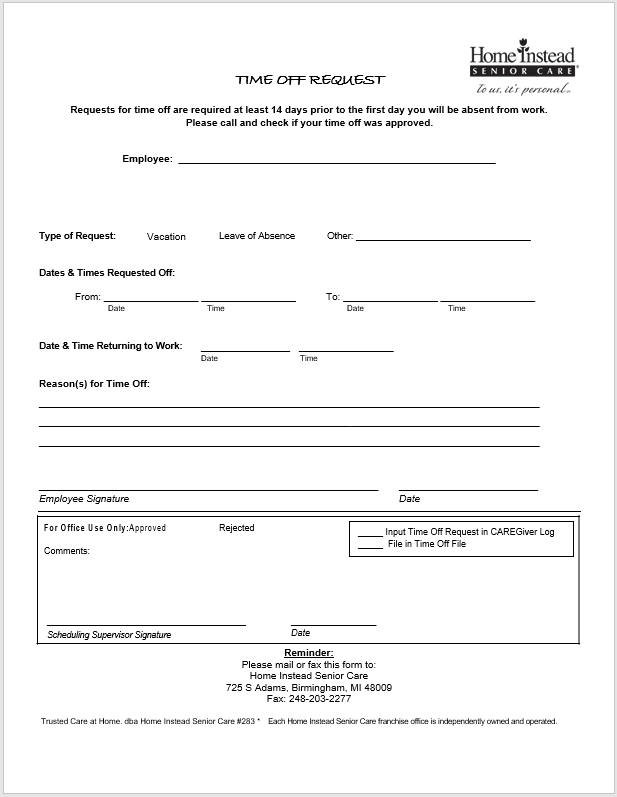 time off request form template 23