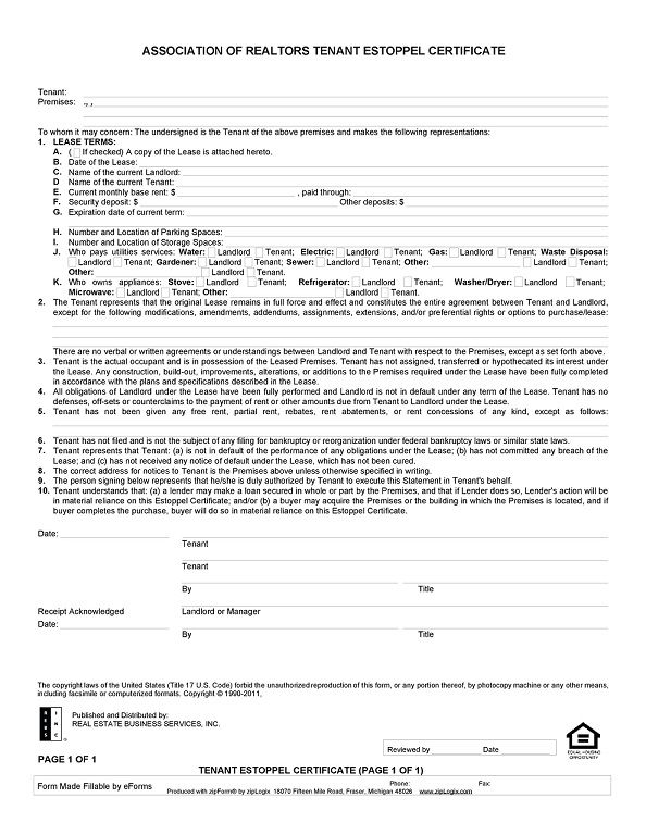 estoppel certificate form 004