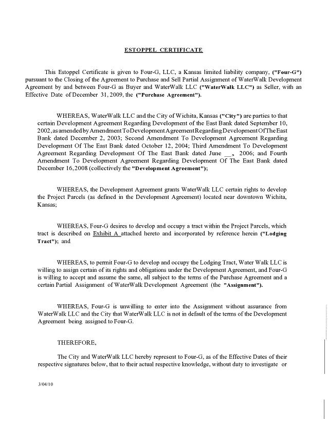 estoppel certificate form 008