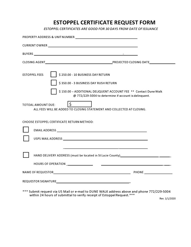 estoppel certificate form 014