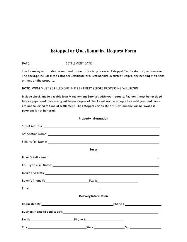 estoppel certificate form 015