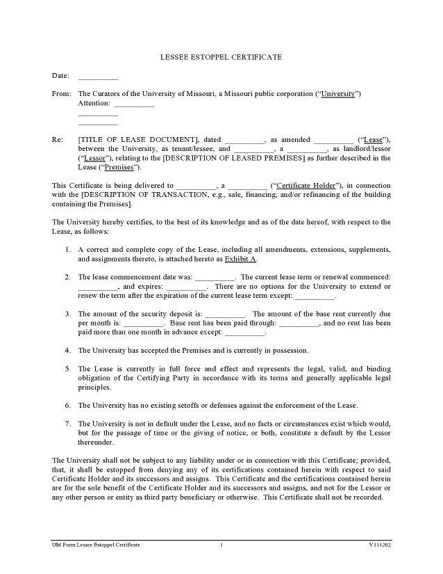 estoppel certificate form 020