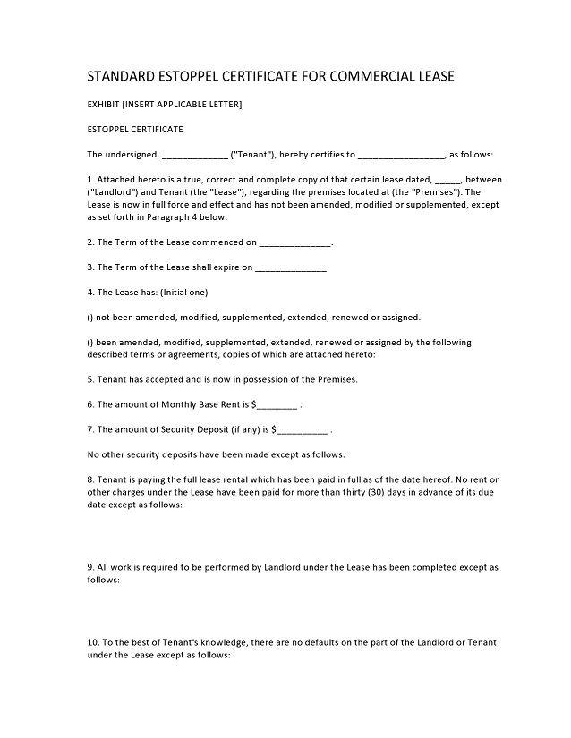 estoppel certificate form 021