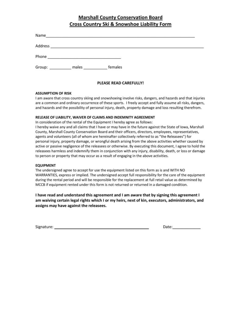 release of liability form 007