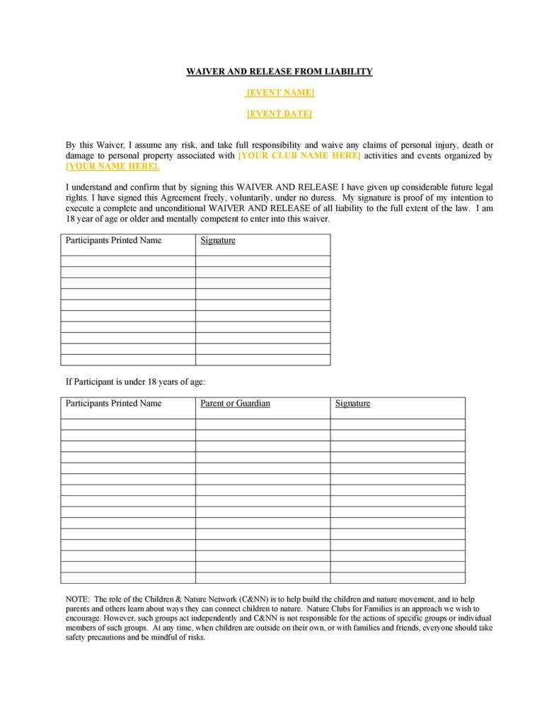 release of liability form 009