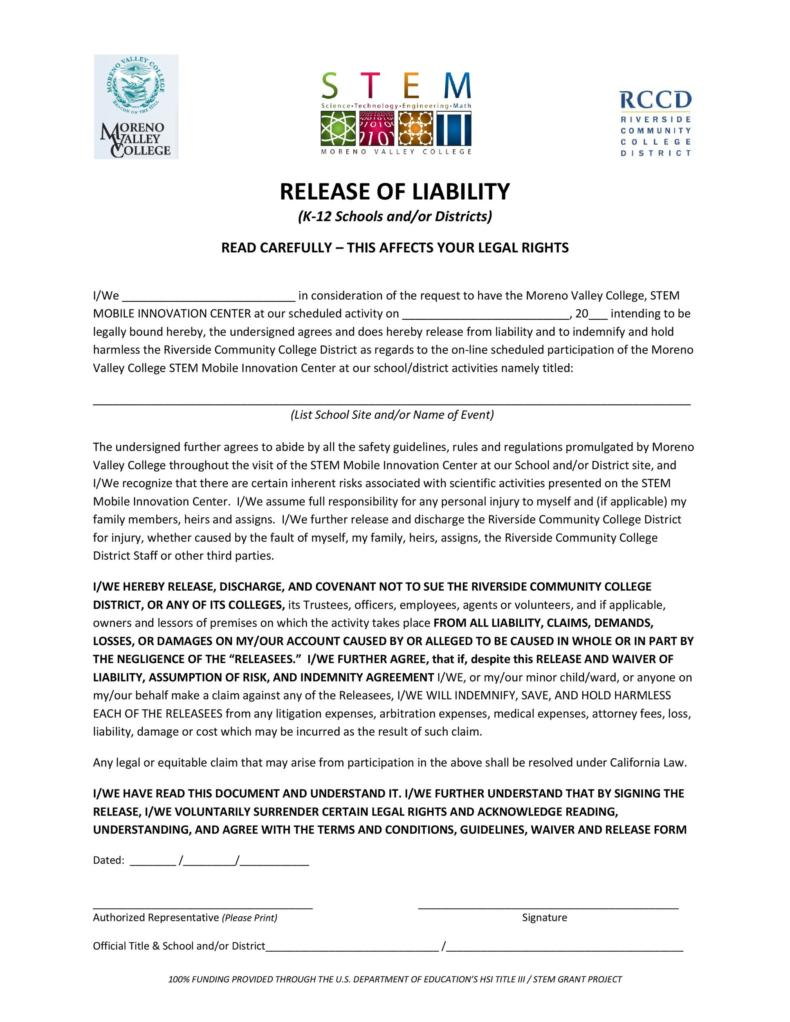 release of liability form 014