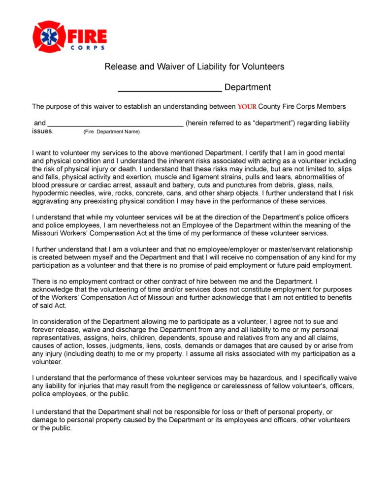 release of liability form 034
